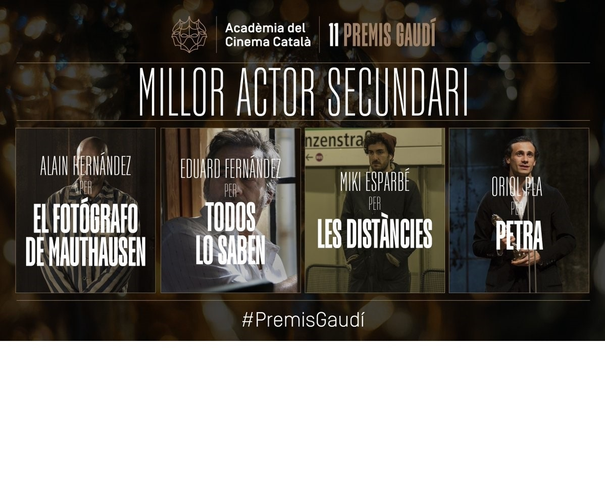 Alain Hernández y Oriol Pla, nominados a Mejor Actor Secundario en los Premis Gaudí